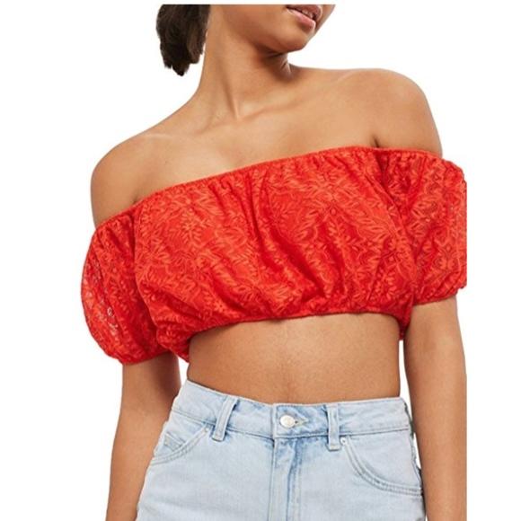 d529ac8f2a254 NWT TOPSHOP Lace Off the Shoulder Crop Top Size 10